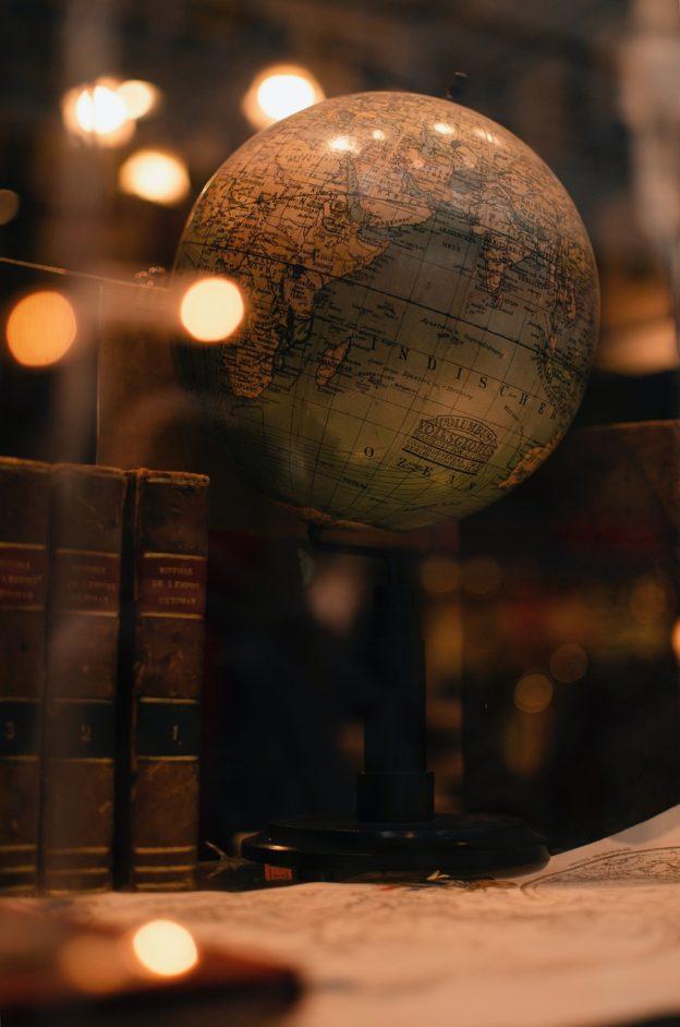 books, globe, world
